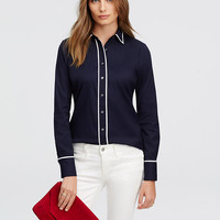 Contrast Tipped Perfect Shirt | Ann Taylor