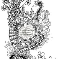 Intricate Colouring Sheet Zen Doodle Instant Download pdf Abstract Art Zentangle Inspired. 'Neptune'