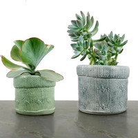 Planter | knit sweater texture | stoneware clay pot | cactus succulent plant home garden decor | mint green or dove gray | made to order