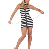 Zip-Up Stripe Dress Convict Costume | Sexy Clothes Womens Sexy Dresses Sexy Clubwear Sexy Swimwear | Flirt Catalog