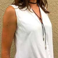 Suede Leather Wrap Choker w/ Feather - lariat necklace bolo tie choker