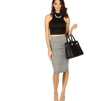 Black Miss Office Houndstooth Skirt