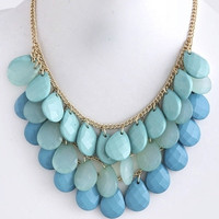 Chunky Tonal Teardrops Necklace - Turquoise   .H.C.B.