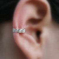 Sterling Silver Ear Cuff Hoop Earring Cartilage/catchless/tragus/helix/nose ring