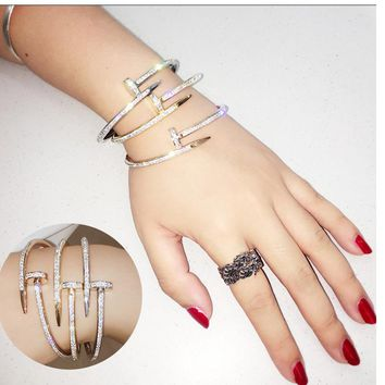 Unique Stainless Steel Crystal  Arm Cuff Bangle