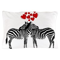 Two Zebras And Hearts Pillow Case> Pillow Cases> Ande and Monica