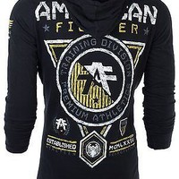 Licensed Official AMERICAN FIGHTER Mens Hoodie Sweatshirt MASSACHUSETTS Athletic BLACK Gym UFC $65