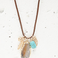 Faux Stone Charm Cord Necklace
