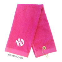 Monogrammed Hot Pink Sports Golf Towel with Clip