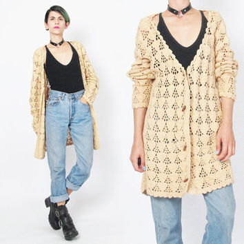 90s Grunge Crochet Cardigan Open Knit Crocheted Sweater Scalloped Hem Beige Cardigan Slouchy Sheer Knitted Cardigan Toggle Wood Button (M/L)