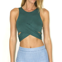 Crossed Paths Crop Top - Hunter Green