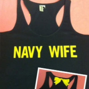 Navy Wife Racer Back Tank Top
