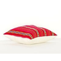 Colorful pillow cover, dark pink Mexican Pillow, Embroidered case aztec boho, Fiesta decoration