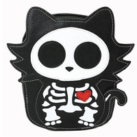 Cute Little Spooky Skeleton Kitty Cat Bag Purse