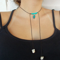 Braided necklace - black cord necklace - simple necklace - black choker - teal necklace - charm necklace - adjustable necklace - boho