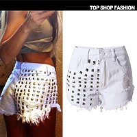 Sexy High Rise White Rivet Denim Pants Ripped Holes Plus Size Shorts [6034599489]