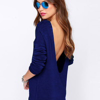 Back Deep V Long Sleeve Blouse