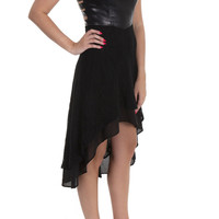 Double Zero Dress Lace/Leather High Low Black – Famous Style by Stalhi Boutique