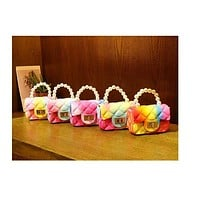 Women Mini Handbags Tote Cute Candy Color Jelly Crossbody Bags for Girls Small Coin Pouch Baby Party Pearl Hand Bags Purse