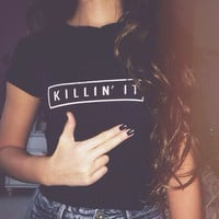 Women Killin It Print T-Shirts Tee 1