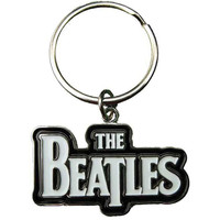 Beatles Drop T Logo (White) Metal Key Chain Silver