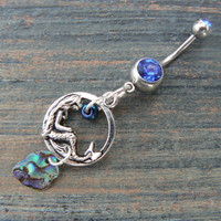 mermaid  abalone charm belly ring mermaid siren charm abalone in fantasy boho gypsy hippie belly dancer  beach and hipster style