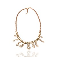 Faux Double Pearl  Metal Chain Necklace