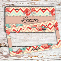 Gift for mum, Monogram chevron license plate or frame, Floral car tag, Pretty bike accessories, Bicycle license plate, Cute gift idea (1406)