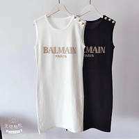 BALMAIN Trending Woman Letter Sleeveless Dress