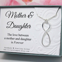 Gift for Mother from Daughter Infinity necklace, 925 sterling silver, Birthday gift or mom, the love between Mother and Daughter is Forever