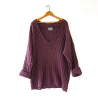 Vintage Oversized Sweater. Deep VNeck Sweater. Slouchy Boxy Pullover. Purple Sweater.