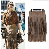 2017 Trending Fashion Women Leather Tassel Slim High Waisted Package Hip _ 12566