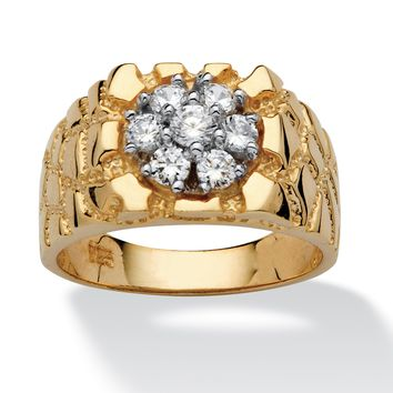 Men's .75 TCW Round Cubic Zirconia 18k Gold over Sterling Silver Nugget-Style Ring