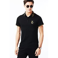 LV 2019 new men's lapel POLO shirt half-sleeved T-shirt Black