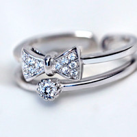 Exquisite bowknot zircon 925 sterling silver ring, a perfect gift