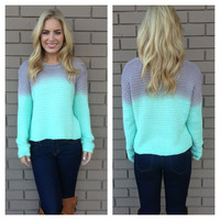 Mint & Grey Ombre Knit Sweater