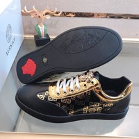 Versace 2019 new fashion versatile hot stamping men's casual shoes black