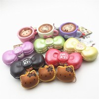 1PC Original Sanrio Hello Kitty Cat Cafe Macaron Dorayaki Squishy Charm Straps Squishies Miniature Food Toys For Kitchen
