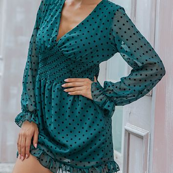 New hot sale sexy V-neck low-cut mesh polka-dot long-sleeved tunic dress