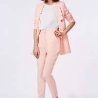 Missguided - Premium High Waisted Cigarette Suit Trousers Soft Pink