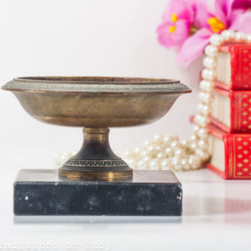 Pedestal Ashtray Brass on Marble Stand: Vintage Art Deco Style Ashtray / Coin Tray / Key Holder