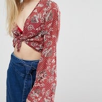 First & I Printed Top With Flared Sleeves at asos.com