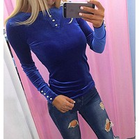Women Solid Color Velvet Buttons Decoration Long Sleeve Bodycon T-shirt Sweater Tops