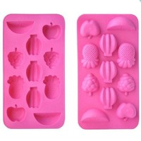 HotEnergy Silicone Ice Cube Mold Maker Tray Mix Fruit Shaped Jelly Mould Hot Pink 11 Cubes