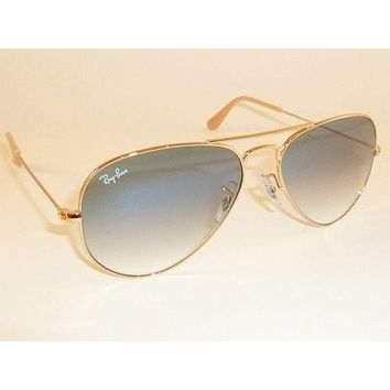 Cheap New RAY BAN Aviator Sunglasses Gold Frame RB 3025 001/3F Gradient Blue 58mm