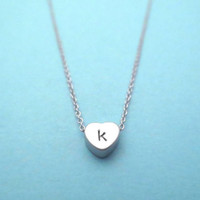 Personalized, Letter, Initial, Tiny, Lovely, Heart, Gold, Silver, Necklace, Love, Heart, Necklace, Birthday, Lovers, Best friends, Gift