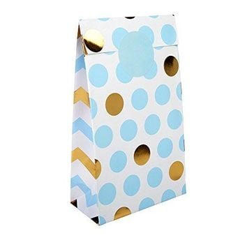 Pattern Works Blue and Gold Circle Pattern Party Favor Bags