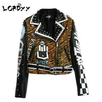 Trendy LORDXX Leopard Leather Jacket Women Studded Punk style Motorcyle Coats turn-down collar Short Cropped Jackets Ladies 2018 autumn AT_94_13