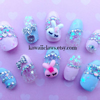 Magical Pink & Blue pastel sleepy bunny with iridescent glitter stars kawaii 3D nails Japanese fairy kei