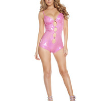 Hot Pink Metallic Cut-Out Romper-Ravewear